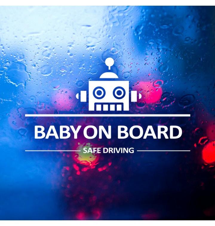 심플라인 로봇 Baby on Board / 아기가타고있어요 반사스티커 자동차스티커
