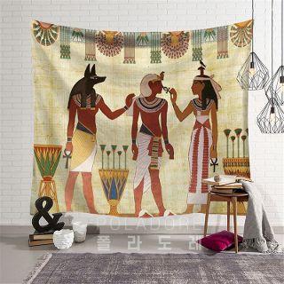 [해외] 번[150X130cm 기모+부품] - 이집트벽화풍 벽걸이 천 장식 인테리어 패브릭 포스터 W